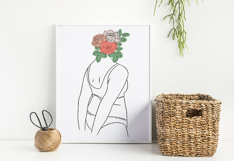 Curvy Floral Woman Head Modern Line Art Print