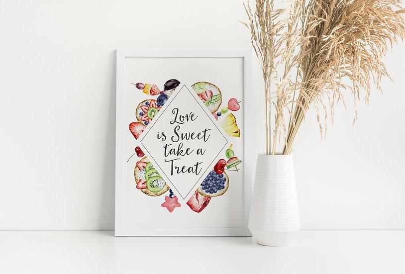 Watercolor Fruit Dessert Table Wedding Sign