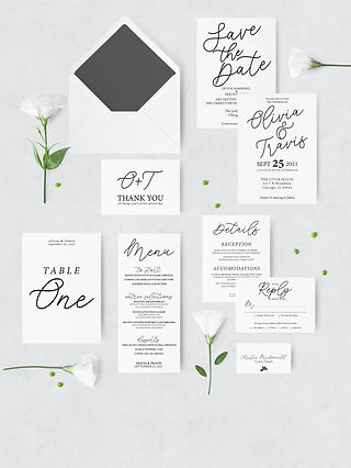 black and white modern wedding stationary with envelope and flowers