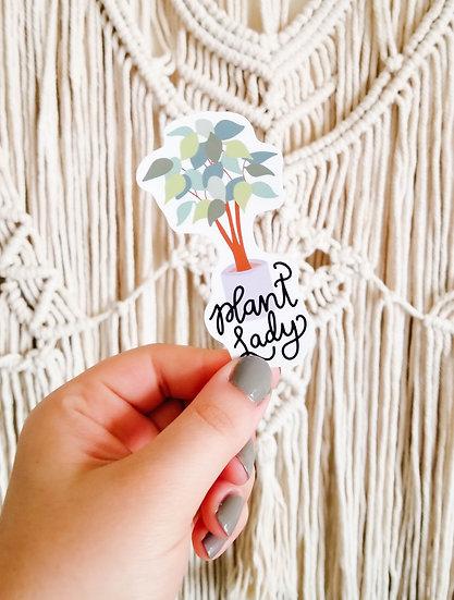 Plant Lady Sticker - Handmade Plant Sticker
