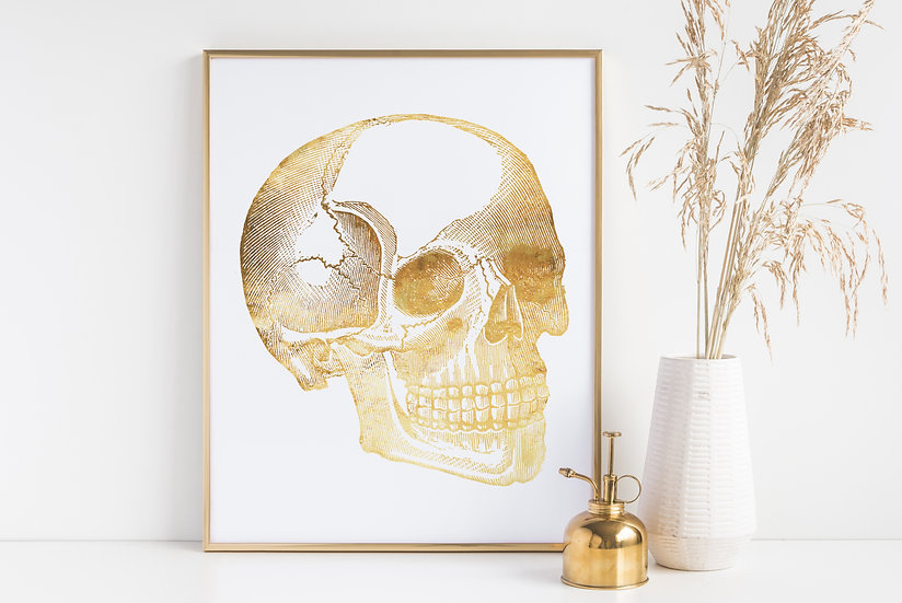 Human Skull Real Foil Vintage Medical Anatomical Print