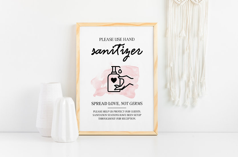 Please Use Hand Sanitizer - Clean Hands and Sanitizer Wedding Sign