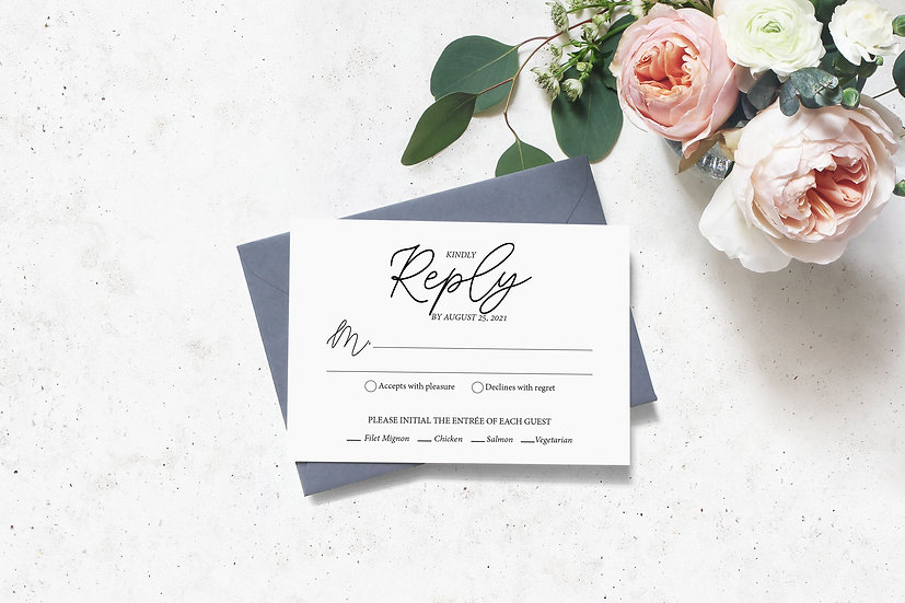 Minimal Typography Wedding RSVP Card
