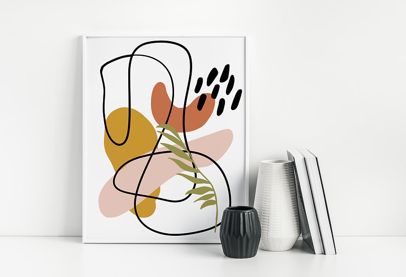 Modern Abstract Line Art Leaf Print