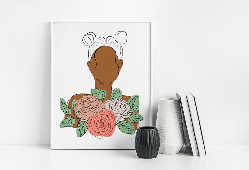 Modern Floral Woman of Color Line Art Print
