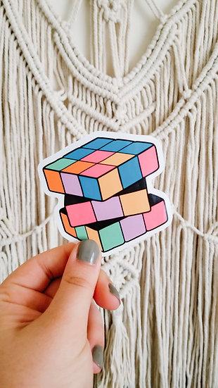 Neon Cube Toy - 90's Sticker