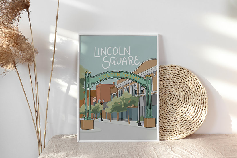 Hand Illustrated Lincoln Square Art Print