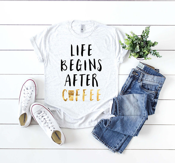Life Begins After Coffee - Black & Gold Foil Scoop Neck