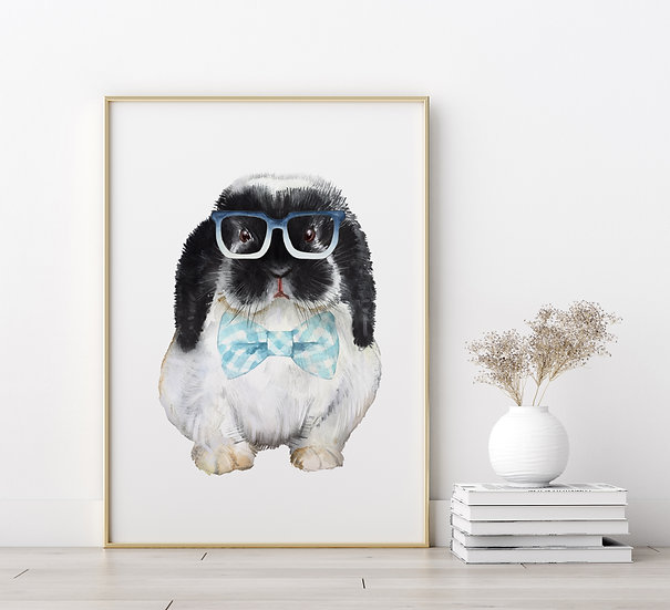 Black and White Lop Bunny with Bowtie and Glasses Print