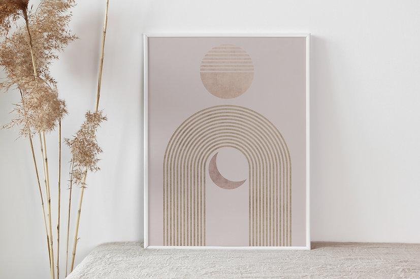 Boho Moon and Sun Digital Print