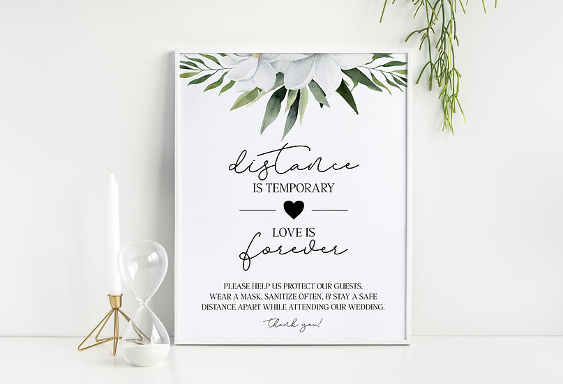 Distance is Temporary, Love is Forever - Social Distance Wedding Sign