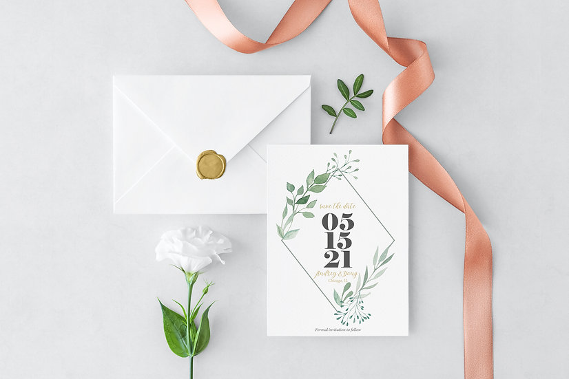 Leaf Watercolor Wedding Save the Date