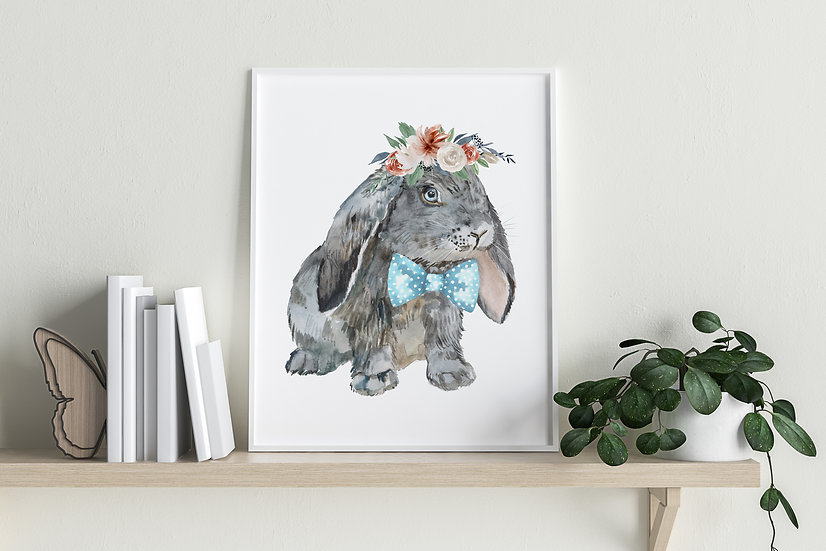 Gray Lop with Bow Tie and Floral Crown Print