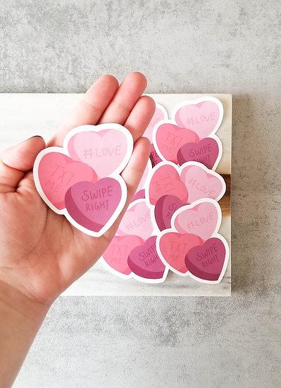Modern Candy Hearts  - Handmade Valentine's Sticker