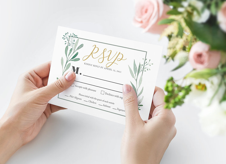 Leaf Watercolor Wedding RSVP Card