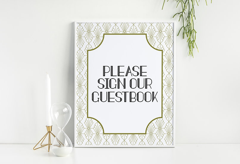 Art Deco Guestbook Wedding Sign