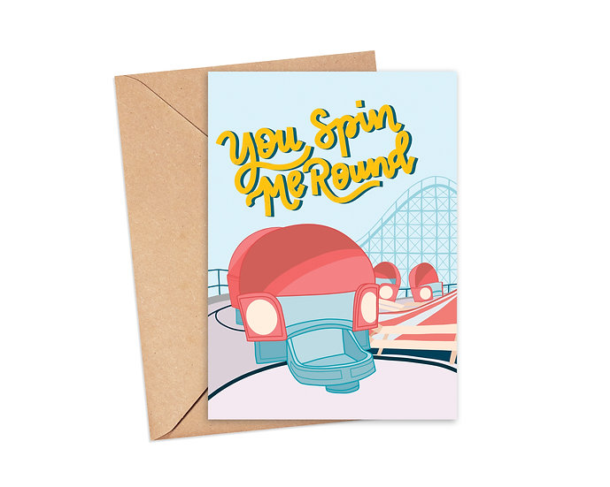 You Spin Me Round Greeting Card