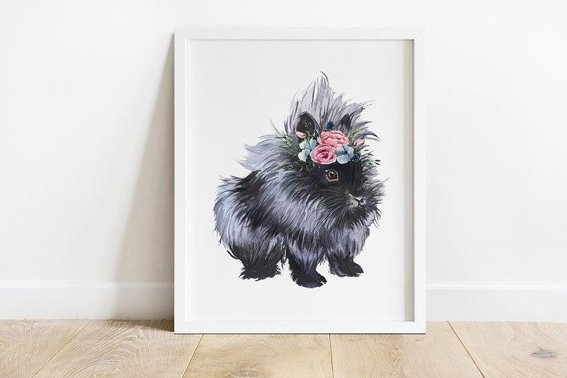 Black Lionhead with Floral Crown Print
