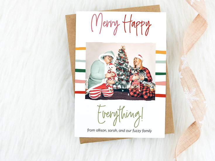 Colorful Stripes Merry Happy Everything Christmas Card