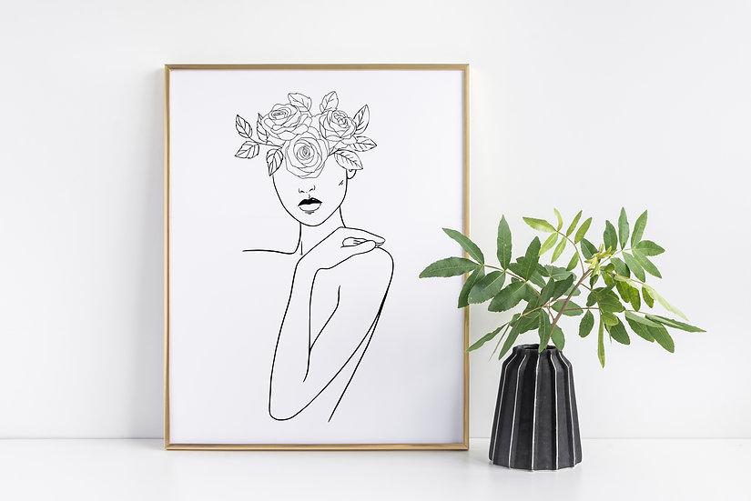 Minimal Black and White Floral Woman Line Art Print