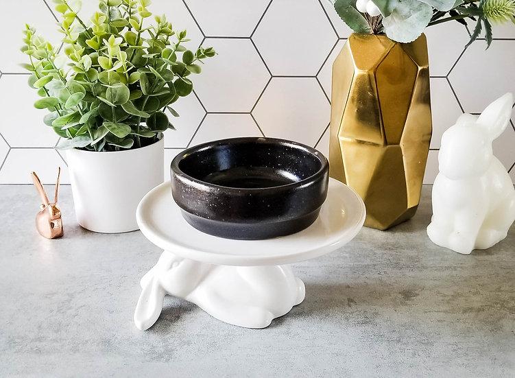 Black Ceramic Bunny Bowl 1