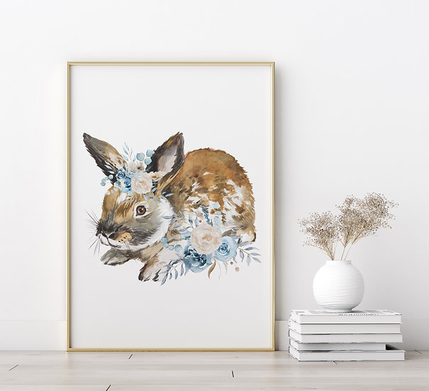 Brown Floral Bunny Print