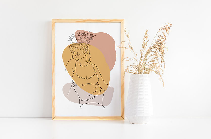 Curvy Women Mid Century Abstract Floral Line Art Print