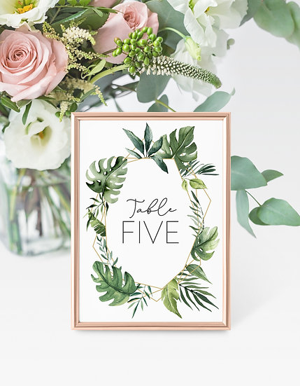 Tropical Watercolor Wedding Table Numbers