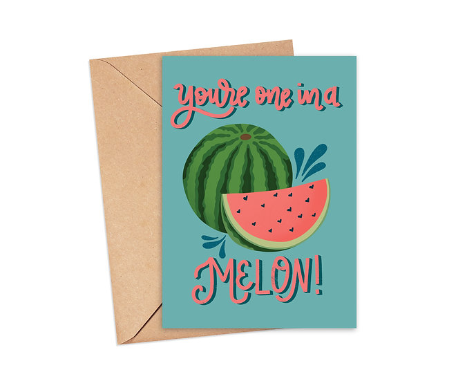 You're One in a Melon Watermelon Pun Greeting Card