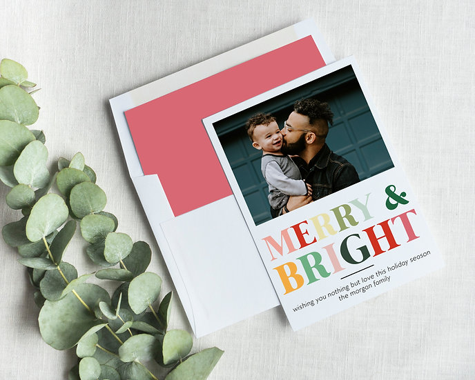 Colorful Merry and Bright Holiday Card
