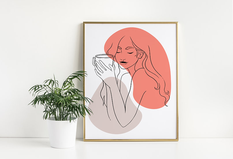 Morning Coffee Mid Century Women Line Art Print