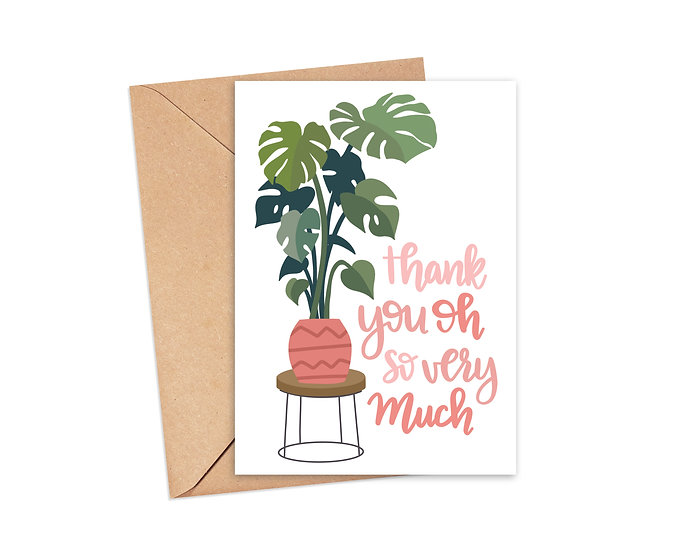 Thank You Oh So Very Much Monstera Plant Greeting Card