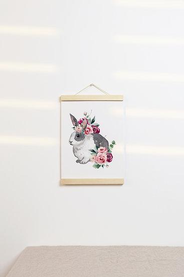 Floral Dutch Bunny Print