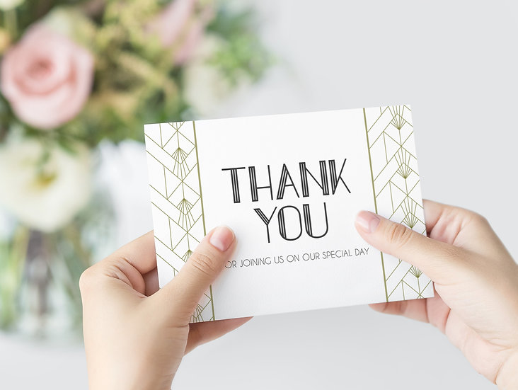 Art Deco Wedding Thank You Cards