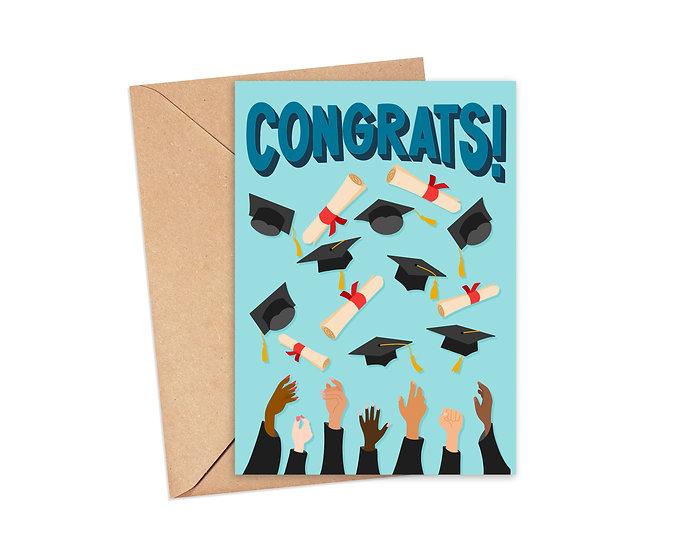Congrats! Cap and Diploma Graduation Card