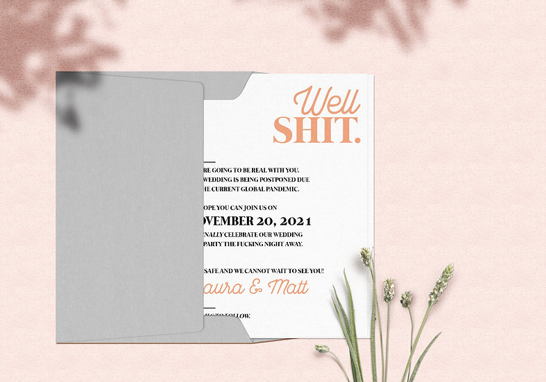 Well, Shit - Funny Change the Date Wedding Card