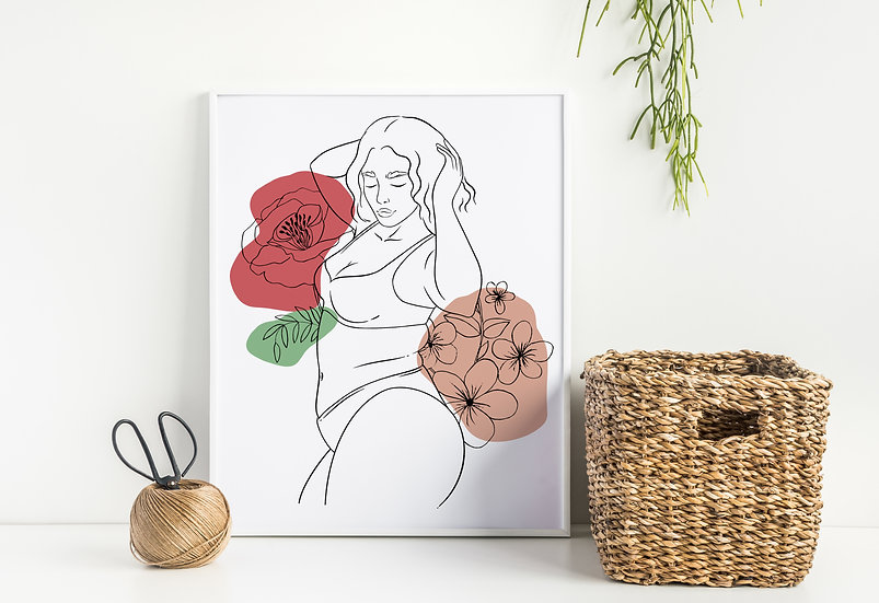 Love your Body Modern Floral Woman Line Art Print