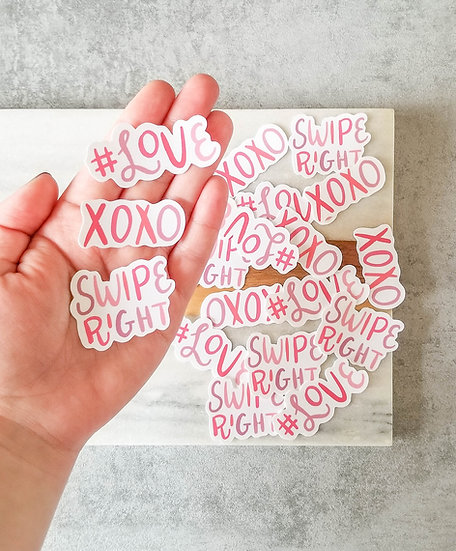 Set of 3 Mini Love Words - Handmade Valentine's Sticker