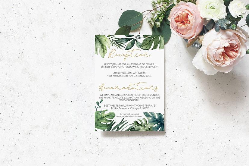 Tropical Watercolor Wedding Detail Card