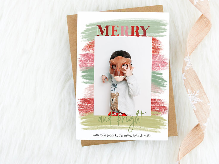 Watercolor Red and Green Merry and Bright Holiday Card
