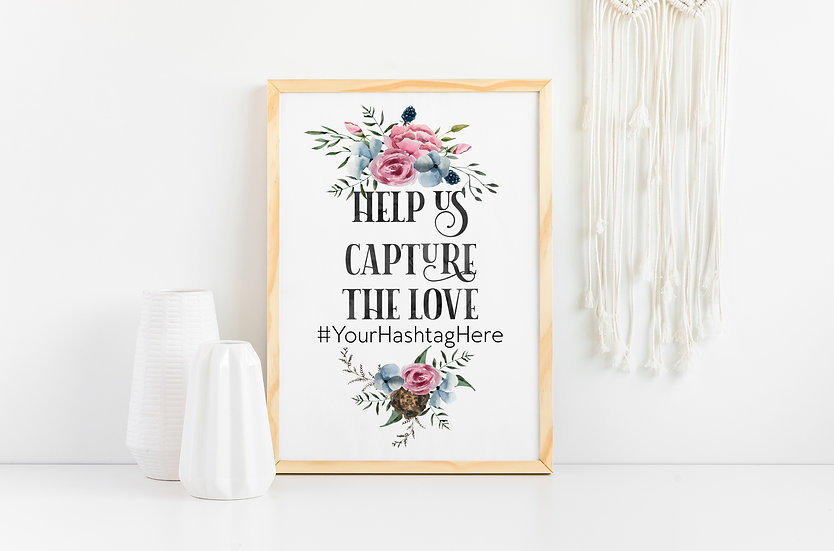 Pink Floral Watercolor Hashtag Wedding Sign