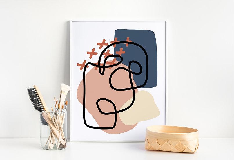 Abstract Mid-Century Modern Geometric Line Art Print