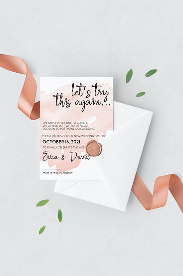 Let's Try This Again - Pink Watercolor Change the Date Wedding Card