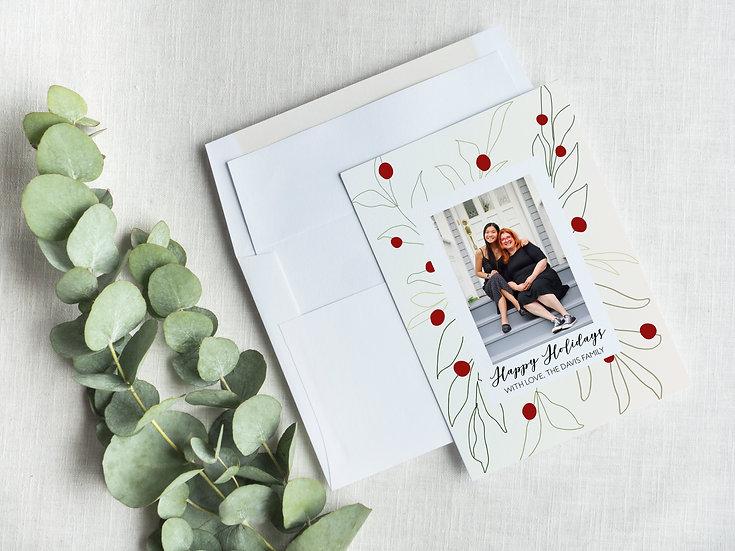 Mistletoe Line Art Minimal Holiday Card