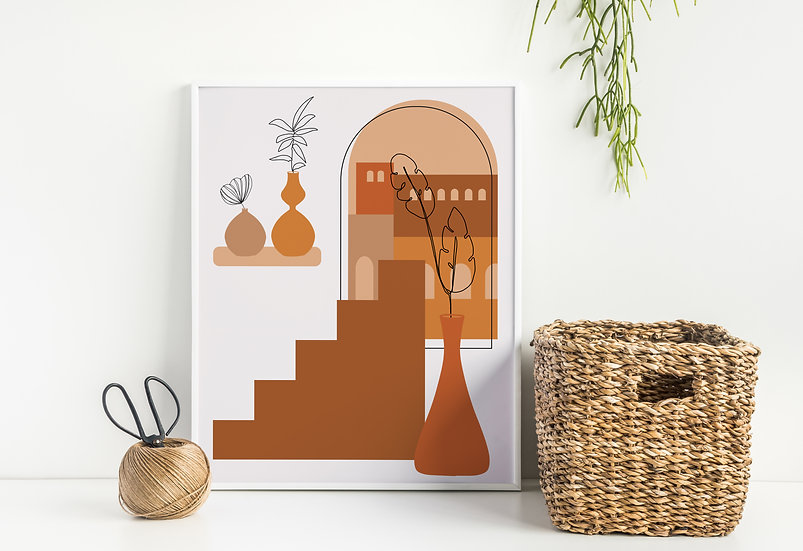Mid-Century Modern Apartment Line Art Print