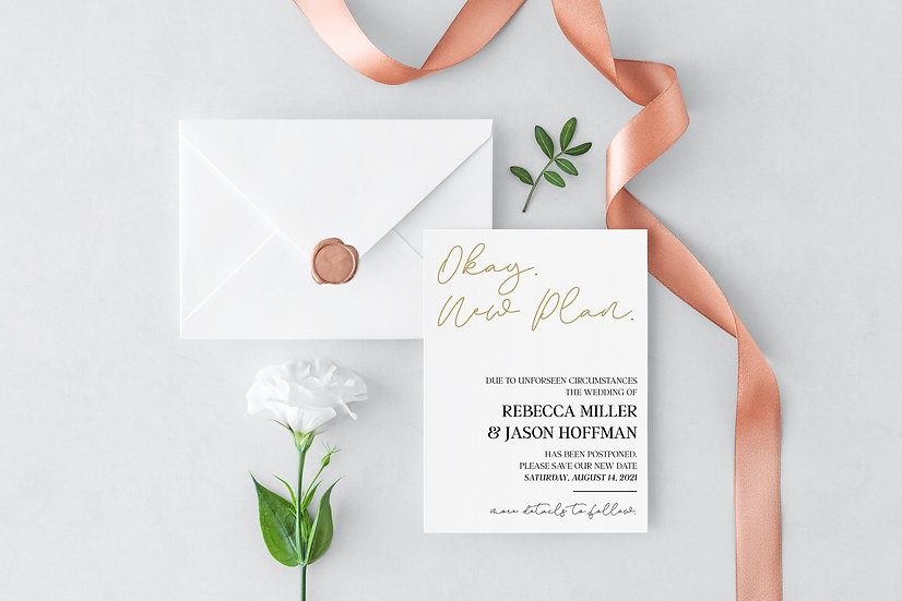 Okay, New Plan - Save Our New Date Gold Wedding Card