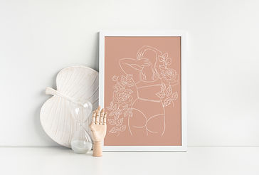 pink woman line art drawing in white picture frame