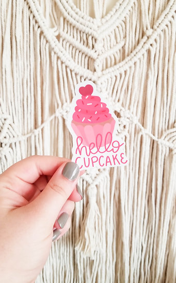 Hello Cupcake  - Handmade Valentine's Sticker