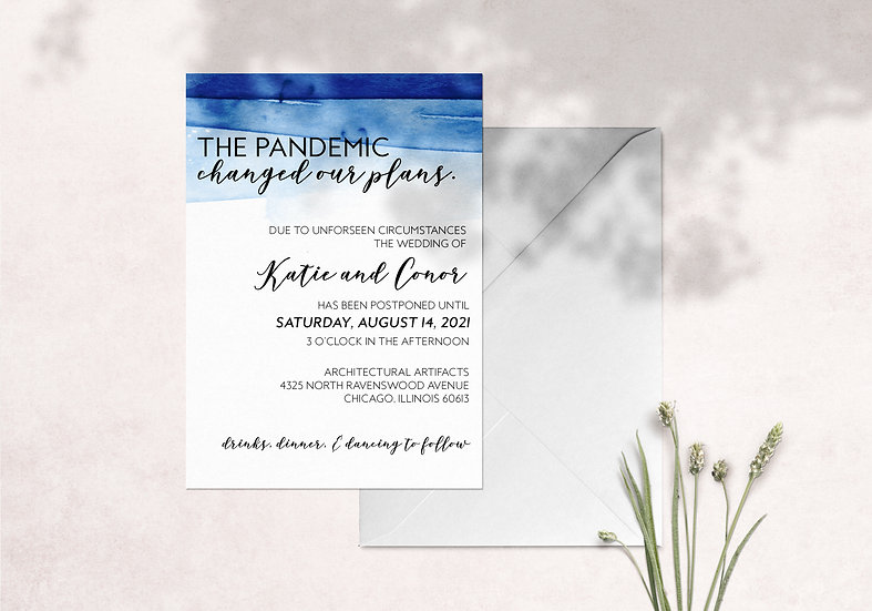 The Pandemic Changed Our Plans - COVID Wedding Resave the Date Card