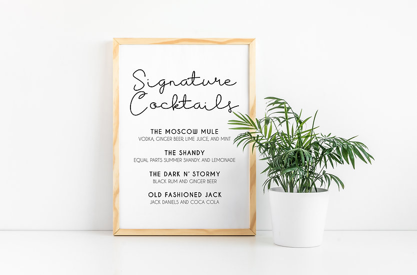 Minimal Typography Black and White Signature Cocktails Wedding Sign